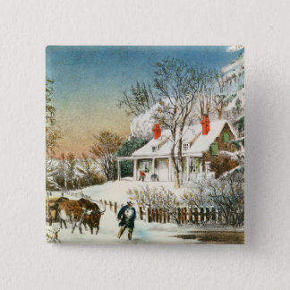 Komma med hem loggar, vintern landskap standard kanpp fyrkantig 5.1 cm