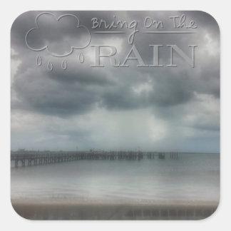 Komma med på regna fyrkantigt klistermärke