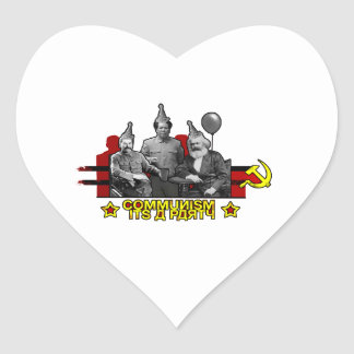 Kommunism är det ett party hjärtformat klistermärke