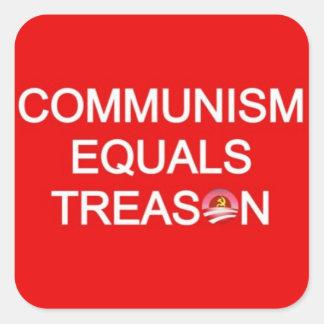 kommunism likställer treason fyrkantigt klistermärke