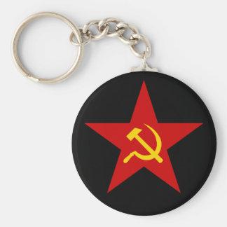 Kommunistisk röd keychain för stjärna (bulta & rund nyckelring