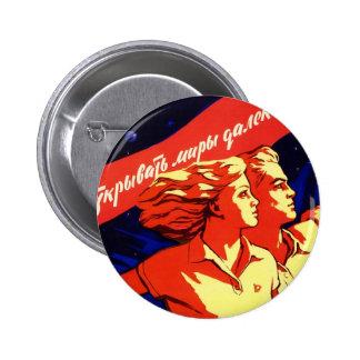 Kommunistisk utrymmepropaganda för rysk vintage standard knapp rund 5.7 cm