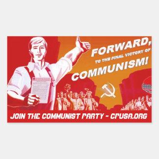 Kommunistpartiklistermärke Rektangulärt Klistermärke