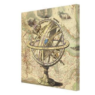 Kompass och karta för vintage nautisk canvastryck