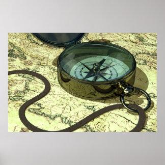Kompass och kartatryck poster