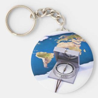 Kompass- och världskarta rund nyckelring
