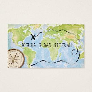 Kompasskartan reser puben bat mitzvah Placecard Visitkort