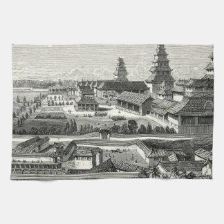 Komplex gravyr för japansk Edo Tokyo slottslott Kökshandduk
