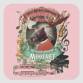 Kompositörer för Wolfgang Amadeus Moozart älgdjur Fyrkantigt Klistermärke