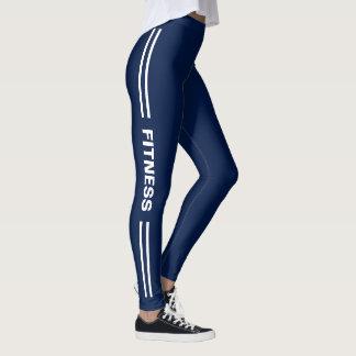 Kondition som är marinblå med görad randig leggings