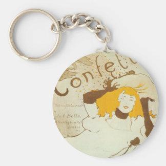 Konfetti Henri de Toulouse Lautrec illustration Rund Nyckelring