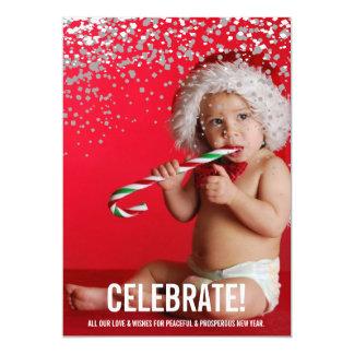 Konfettiar firar fotohelgdagkortet 12,7 x 17,8 cm inbjudningskort