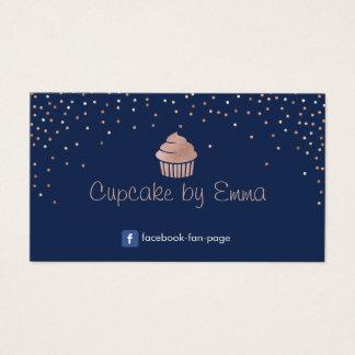 Konfettiar för rosa guld- muffin för bageri visitkort
