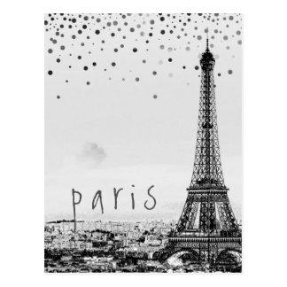 Konfettiar för vintage för grått för Eiffel Vykort