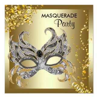 Konfettiar maskerar det guld- maskeradpartyet för fyrkantigt 13,3 cm inbjudningskort