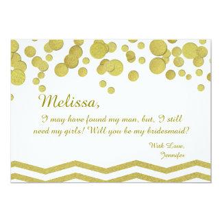 Konfettiar och sparre för brudtärna guld- 12,7 x 17,8 cm inbjudningskort