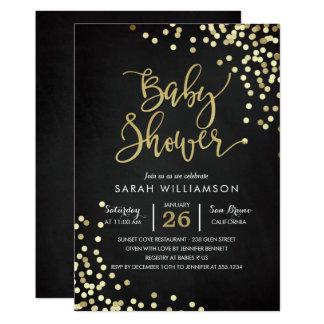 Konfettiar & svart tavla för baby shower | 12,7 x 17,8 cm inbjudningskort