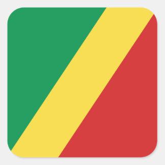 Kongofloden-Brazzaville flaggaklistermärke Fyrkantigt Klistermärke