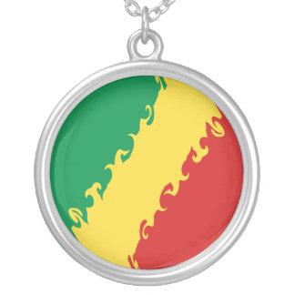 Kongofloden-Brazzaville Gnarly flagga Halsband Med Rund Hängsmycke