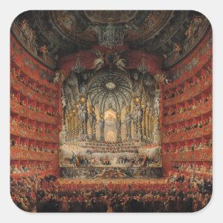 Konsert som ges av Kardinal de La Rochefoucauld Fyrkantigt Klistermärke
