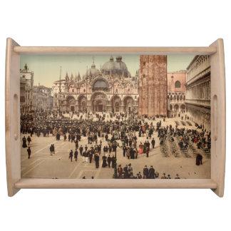 Konserten i St Mark kvadrerar I, Venedig, italien Serveringsbricka