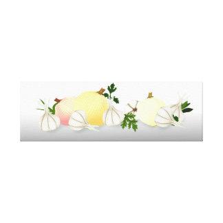Konst 25x8 för mat för lökvitlökkök canvastryck