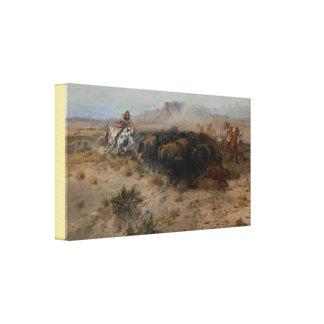 Konst buffeljakten Charles Marion Russell Canvastryck