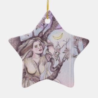 Konst för altare för älva för Apple blommarDryad Julgransprydnad Keramik