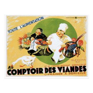 Konst för annons för mat för vintage för Comptoir Vykort