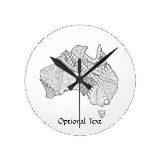 Konst för Australien souvenirkarta Medium Rund Klocka