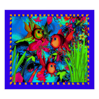 Konst för den undervattens- barnaffischguldfisken poster