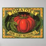Konst för etikett för vintagefruktlåda, Wayne Co Affischer