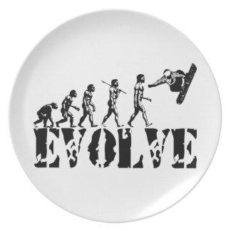 Konst för evolution för SnowboardSnowbording sport Tallrik