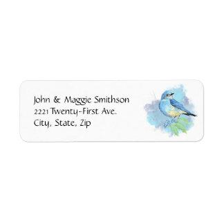 Konst för fågel för vattenfärgblåsångareträdgård returadress etikett