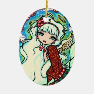 Konst för fe för candy canejulängel julgransprydnad keramik