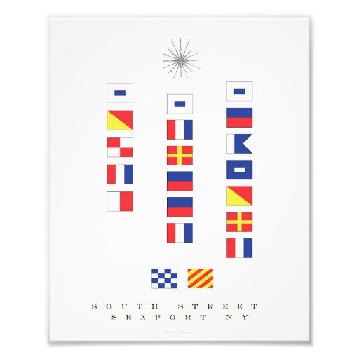 Konst för flagga för södra gataSeaport nautisk Fotografiska Tryck