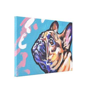 Konst för Frenchie fransk bulldoggpop på slågen in Canvastryck