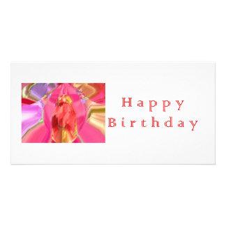 Konst för grattis på födelsedagenRedRose PinkRose  Fotokort