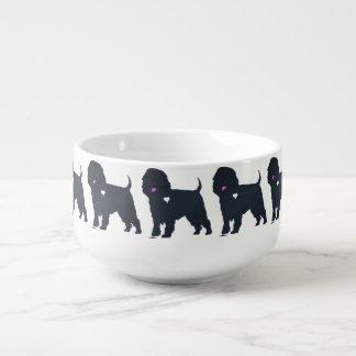 konst för hjärta för affenpinscherhundsilhouette mugg för soppa