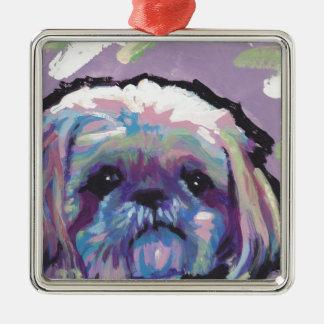 konst för hund för shih tzupop julgransprydnad metall