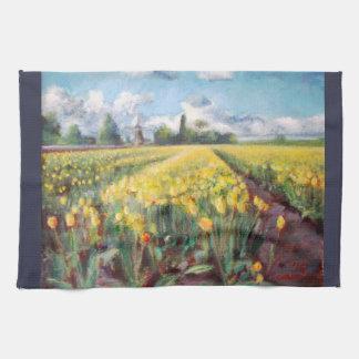 Konst för Impressionism för vårtulpanblommor blom- Kökshandduk