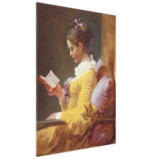 Konst för Jean-Honore Fragonard ung flickaläsning Canvastryck