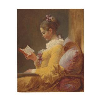Konst för Jean-Honore Fragonard ung flickaläsning Trätavla