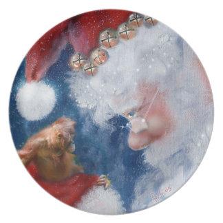 Konst för jultomtendjurlivjul tallrik