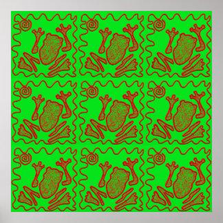 Konst för klotter för ungar för padda för skraj gr print
