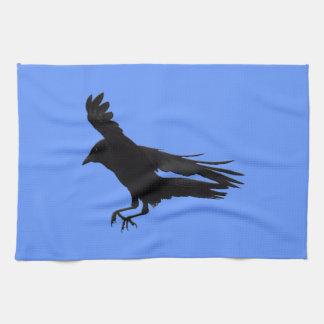 Konst för kråka för flyglandningsvart kökshandduk