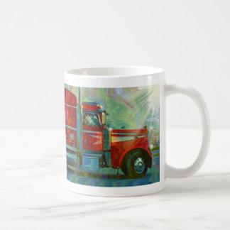 Konst för lastbilsförare för skurkroll för rigg vit mugg