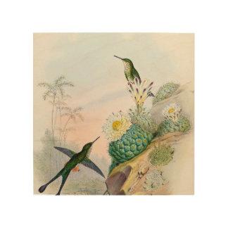 Konst för målning för surrfågelkaktusen trätavla