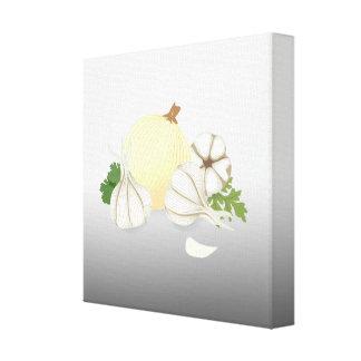 Konst för mat för lökvitlökkök canvastryck
