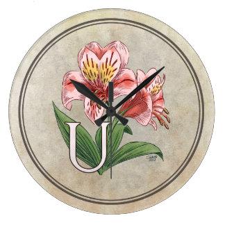 Konst för Monogram för Ulster Mary blommaalfabet Stor Klocka